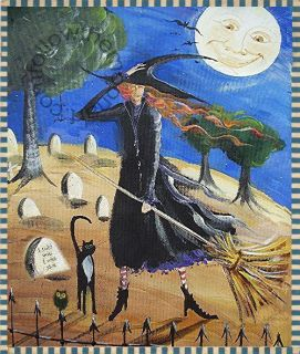 Windy Witch I told you I was sick Black Cat Halloween Grave Yard Art