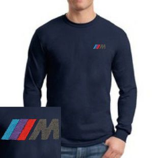 BMW M3 M Power Logo EMBROIDERED Navy Blue Long Sleeve Heavy Cotton T