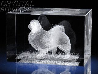 JAPANESE CHIN* 3D Laser Etched Crystal Dog Figure 57s