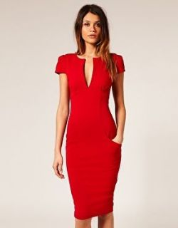 ASOS BODYCON SPLIT NECK PONTI PENCIL DRESS, PILLARBOX RED, SIZES 10