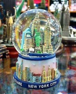 45mm New York City Snow Globe, Blue Base, Colored Landmarks, Small