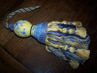 Hand Painted Blue And Gold / Yellow, Tassel Tassle Curtains Blinds