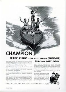 1940 CHAMPION SPARK PLUGS MARINE ENGINE MOTOR BOAT AD