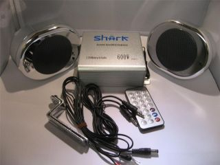 motorcycle audio system w/4 chrome oval speakers usb aux sd