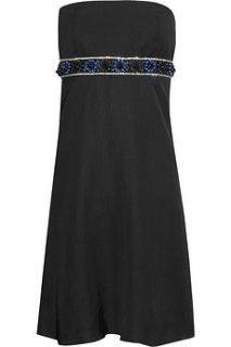 Chatvif black strapless beaded linen blend dress UK 8 EU 36 US 4 NEW