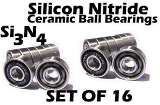 Speed Skate Ceramic Si3N4 Inline Race Bearings SET (16) Roller Hockey