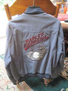 MENS VINTAGE CLASSIC V TWIN HARLEY DAVIDSON MOTORCYCLE JACKET GRAY