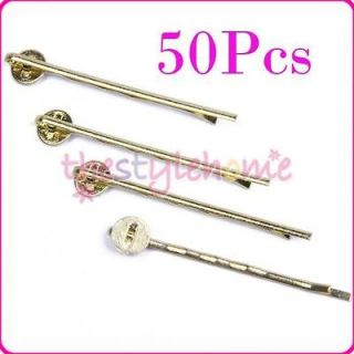 Newly listed 50pcs BOBBY Hair PINS Blank Forms 2 L w/ 8mm Pad Hair