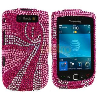 Pink Swirl Bling Rhinestone Case Cover for Blackberry Torch 9800 9810