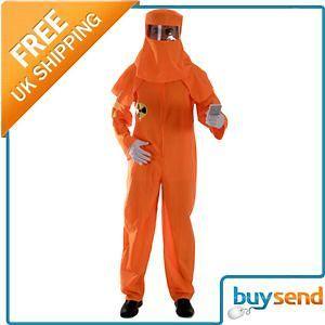 Adults Orange Radiation Boiler Suit Fancy Dress Costume  One Size Fits