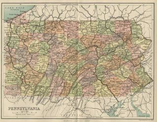 Pennsylvania Map Authentic 1897; showing counties, Cities, Towns