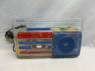 80s Clear Transparency See Thru Boombox Radio Cassette Player Lenoxx