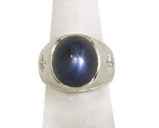 mens blue star sapphire ring