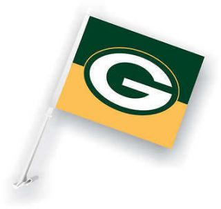 PAIR OF GREENBAY PACKERS NFL FOOTBALL CAR FLAGS BANNER 11x18 w/ wall