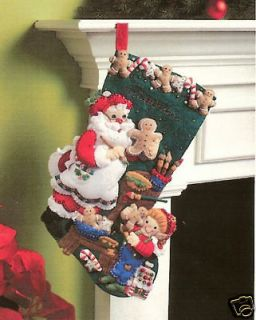 Bucilla CHRISTMAS COOKIES Felt Christmas Stocking Kit OOP Santa