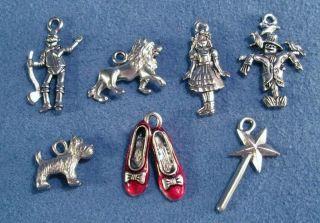 Wizard Dorothy Ruby Slippers of Oz Bracelet Charms Set