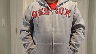 NWT MLB Mens Boston Red Sox Gray Full Zip Hooded Sweatshirt   Sizes M