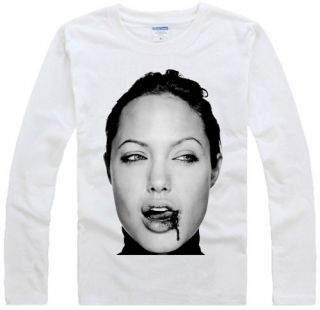 ANGELINA JOLIE fight design art cele graphic long sleeve white t shirt