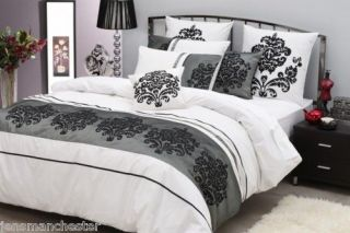 BAROQUE Style Black White DOUBLE Quilt Doona Cover Set