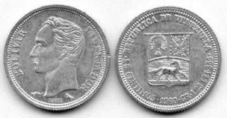Venezuela 1960 25 Centimos UNC (KM35a)   Silver