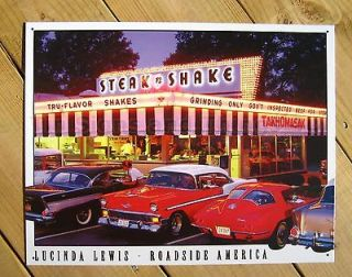 Steak n Shake 50s Diner classic car TIN SIGN Lewis vtg metal wall