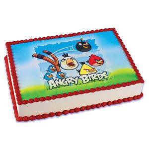 ANGRY BIRDS EDIBLE CAKE TOPPER DECORATION IMAGE