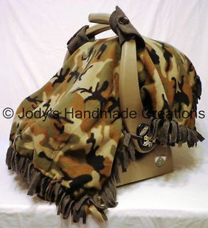 BROWN ARMY CAMO FLEECE / INFANT / BABY CARSEAT CANOPY / TENT / COVER