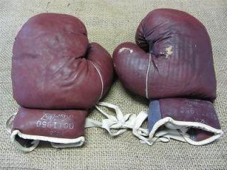 Vintage 1950 Leather Boxing Gloves Ken wel Antique Old Box Bag Sport