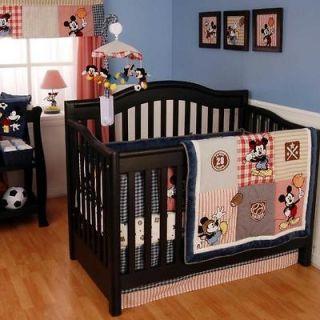 Disney Popular Character Baby Boy Blue & Red Nursery 4pc Sports Crib