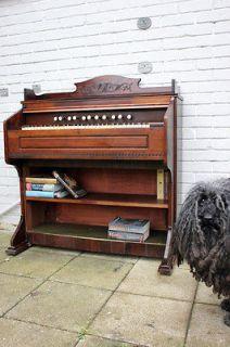 Antique Unusual c.1900 Estey Organ Walnut Pump Pedal Organ Converted
