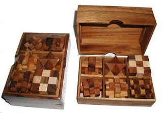 wood brain teaser puzzle gift set in wood box w/cover