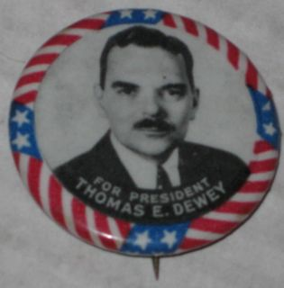 Thomas Dewey for President Campaign Pin 1973 Series