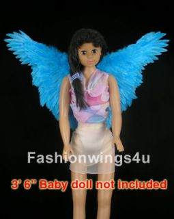 Childrens Blue butterfly macaw fairy angel bird costume feather wings