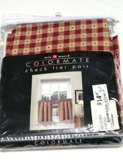 NEW NIP Colormate check tier pair curtains brick red 56 x 24 56 24