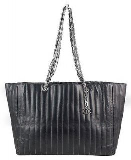 CHANEL Black Lambskin Large Mademoiselle Vertical Shopping Tote Bag