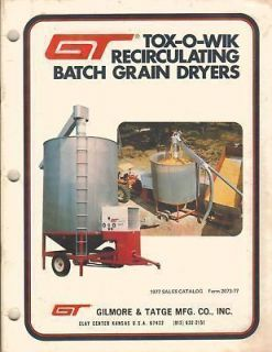 GT TOX O WIK RECIRCULATING BATCH GRAIN DRYERS SALES CATALOG 1977
