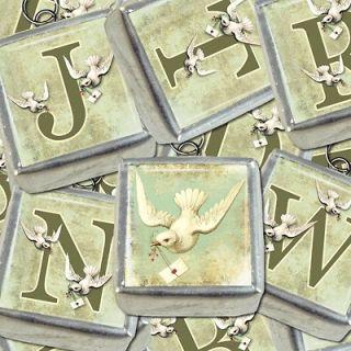 Initial Letter Monogram Wedding Dove Bridal Bouquet Necklace Charm