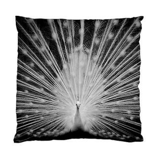 WHITE PEACOCK FEATHER TAIL BEDROOM Lounge DECOR CUSHION CASE/COVER~NeW