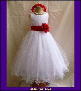 WHITE RED BRIDAL PARTY PAGEANT DAVIDS FLOWER GIRL DRESS 18M 24M 2 4 6