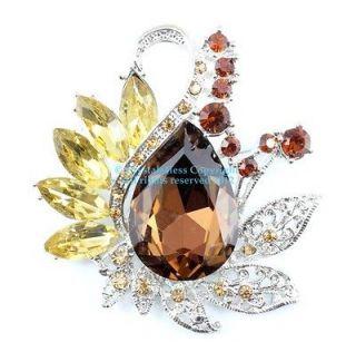 Golden Austrian Rhinestone Crystal Ornate Bridal Wedding Brooch Pin