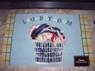 NEW LAUNDRY ROOM RUG By NOURISON Handmade Blue Yellow CLOTHES BASKET
