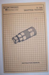Keuffel & Esser 71 7101 Diopter Tester Inst. Manual