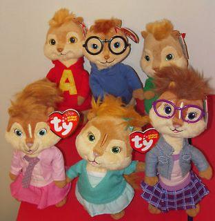 ,THEODORE,BRITTANY,ELEANOR&JEANETTE Beanie Baby Chipmunks