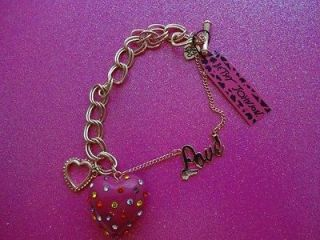 Betsey Johnson Hot Pink Crystal Heart Toggle Bracelet
