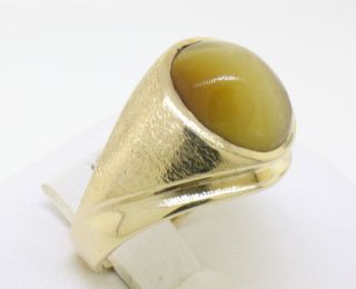 14k Solid Gold Tigers Eye Bezel Brushed Mens Ring