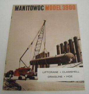 Manitowoc 1963 3900 Crane, Dragline, Hoe Brochure