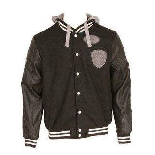 Brave Soul Kids Harvard Hooded Varsity Jacket (Black) BNWT S XL