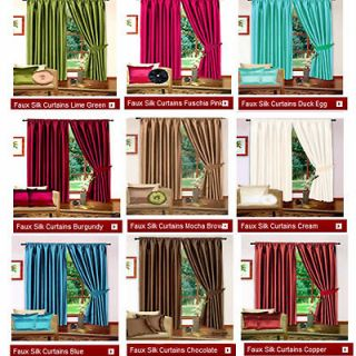 Faux Silk Pencil Pleat Fully Lined Curtains 45 66 90 width 54 72 90