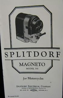 Splitdorf Magneto Model NS Bulletin # N 650 magneto For Motorcycles