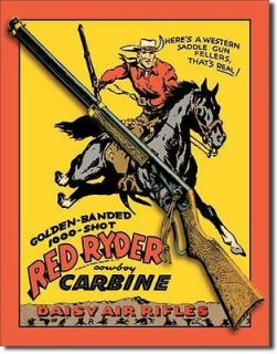 Vintage Replica Tin Metal Sign red rider daisy air riffle gun shot